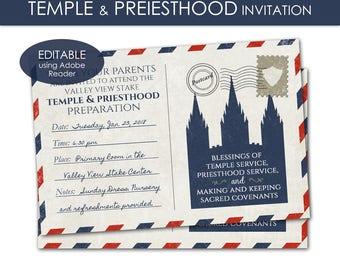 LDS Temple & Priesthood Preparation Invitation - Primary PRINTABLE Editable PDF Annual Meeting Program Invite Postcard Theme Graduation