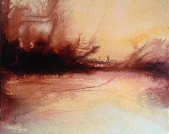 Original painting - Last light on the pond - Abstract landscape, ink, pigments and collage on canvas. Contemporary art.
