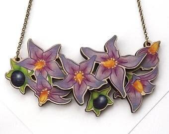 Laser Cut Deadly Nightshade Belladonna Poisonous Flower Statement Necklace, layered wood - Garden Plant Floral Botanical Jewellery