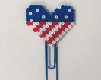 American Flag Heart Planner Clip | Paper Clips | USA | 4th of July | Bookmark | Planner Clips | Patriotic | Mini Perler Beads | Hearts