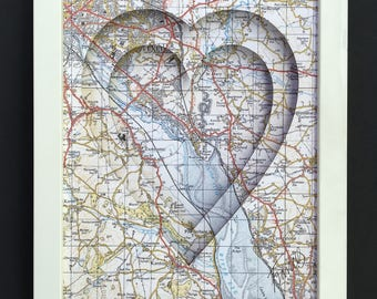 Heart Map gift, for wedding, engagement, at home and special occasions