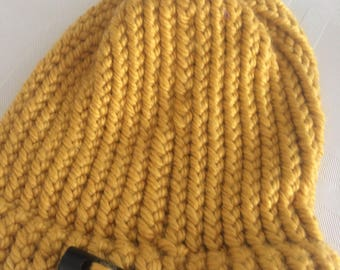 Handmade Gold Cable Knit Hat