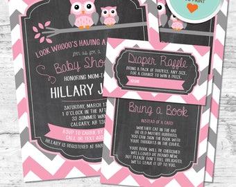 Owl Baby Shower Invitation, Owl Invitation, Pink, Gray, Chevron, Chalkboard (Branch)   DIY