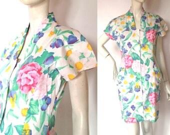UNGARO Flower Print DRESS / 1980s  / 90s / Made in Italy / cotton dress / Emanuel Ungaro