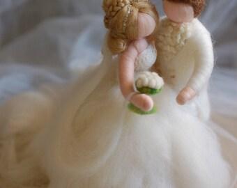 Newlyweds, fairy tale wool, Waldorf inspiration, wedding cake decoration