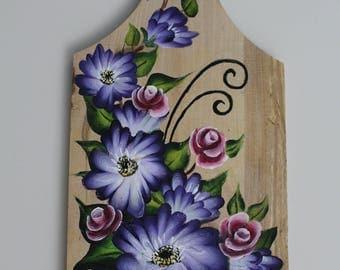 Acrylic flowers on rustic wood