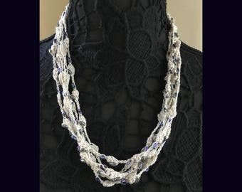 Ecru Crochet Lace Beaded Necklace - Handmade with Pearlescent beads - No Metal - Item N26