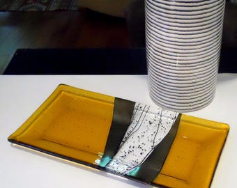 Large Amber Art Glass Platter or Tray, Iridized Gold and Black Accents 7 x 14 Inches