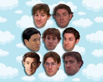 "Jim Halpert Expressions Sticker Pack 8 ct 2 x 1.5"" - The Office Tv - Office Jim - Office Tv Show - Jim Halpert - The Office Tv Gift"