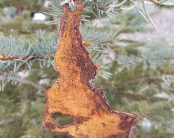 Rustic Rusted Metal Boise Idaho Christmas Tree Ornament-Travel Keepsake, Gift, Holiday Gift, Stocking Stuffer, Wedding Gift