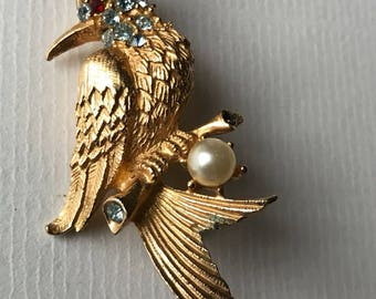 Vintage Gold tone Metal and Rhinestones Bird of Paradise Brooch /1960s/ Unsigned