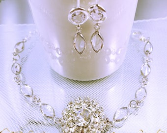 Wedding bracelet / bridesmaids gift / Duo bracelet - earrings