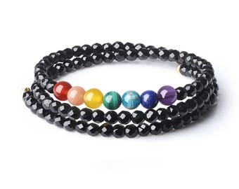 Facted Onyx 4mm  Semi Precious Gemstones 7 Chakra Healing Crystals Bangle Bracelet