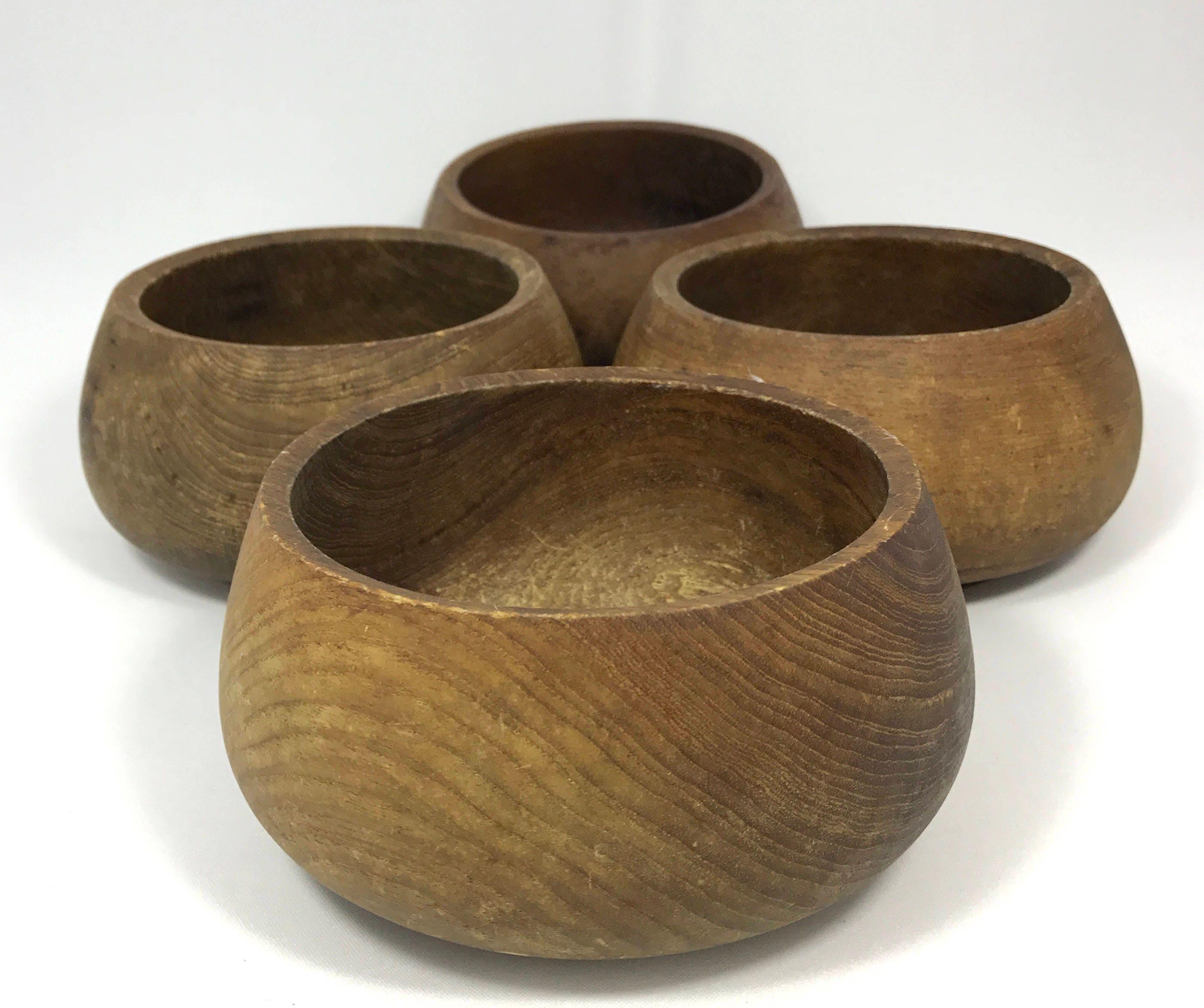 Wooden Dining Bowls ~ Rustic teak wood bowls set of vintage weathered