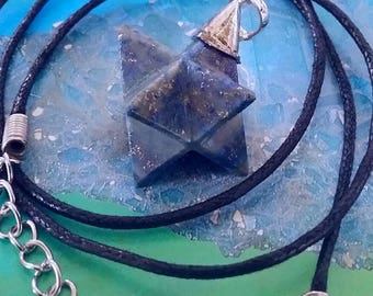 Stunning LAPIS LAZULI MERKABA Star Pendant With Silver Embellished Top and Black Hemp Chain, Sacred Geometry