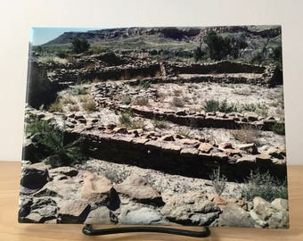 Ceramic Trivet -Chaco Canyon New Mexico Photograph of Historical Park - Limited Edition - Display or use as a Hot Plate-comes with stand