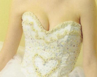 Bridal Corset, Beaded Bustier, Heart Bodice, Lace Up Back, Couture Item