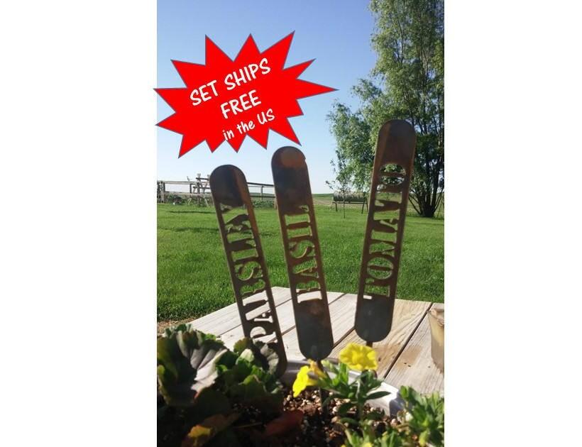 Nice Set Of 4 Upright Garden Markers, FREE SHIPPING! Metal Garden Marker, Plant  Marker, Gardener Gift, Raised Garden Bed, Garden Gift Set, Herbs