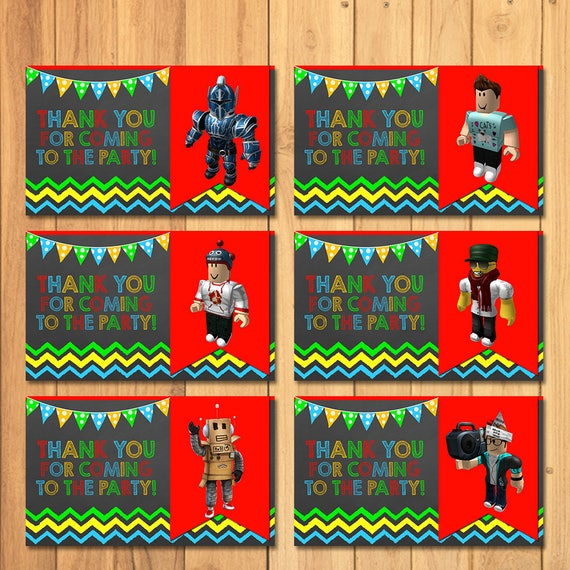 Roblox Party Tags Chalkboard Birthday Favors Paty Favor