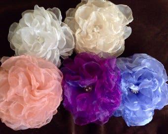 Beautiful handmade organza hair clips