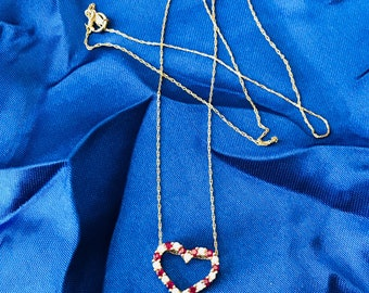 """14k Yellow Gold Diamond and Ruby Heart Necklace 18"""" Stunning and Beautiful"""