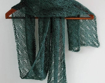 Baby alpaca lacy knit scarf, muted jade green - ready to ship