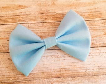 Pastel Blue Solid Fabric Hair Bow Clip or Headband / Pastel Blue Hair Bow / Baby Blue Hair Bow Clip / Light Blue Bow Clip / Bow Headband