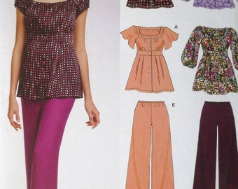 Womans Bohemian Blouse/Pant Sewing Pattern - New Look 6737 - Sizes 6-16 - UNCUT Womans Top & Pant Pattern