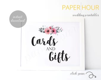 Printable Wedding Reception Sign | Cards and Gifts | Instant Download | 5x7 & 8x10 | DIY Printable/Digital File | z007