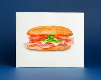 food illustration / food painting / 8 x 10 original watercolor / sandwich painting / fast food / junk food / kitchen wall art / foodie gift