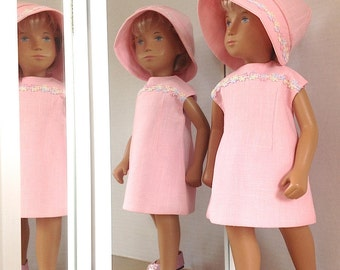 Sasha Doll 3 Piece Outfit - Lined Dress, Hat, Panties - A Nod to the 60s - Perfectly Pink A-Line/Shift