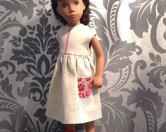 Sasha Doll Embroidered Linen Dress with a Dash of Liberty Print Fabric