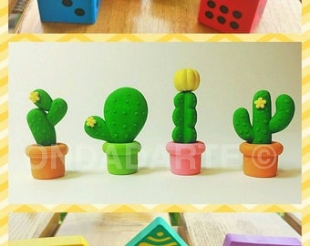 Eraser Cactus plants - Hearts - Fantasy (lozenges, stripes or polka dots)