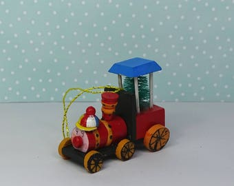 Vintage train Christmas ornament 1970s wooden red green blue