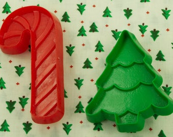 1980's Hallmark Green Tree And Red Candy Cane Plastic Christmas Cookie Cutters