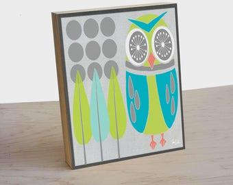 Mid Century Retro owl panel print. Retro owl poster. Owl home decor. Owl wall art. Woodland animal art. Owl Nursery art print. Owl decor.