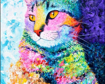 Cat Painting - Rainbow Abstract Decor, Modern Cat Portrait, Abstract Cat Art, Cats, Tabby Cat Wall Art, Original Painting, Acrylic on Canvas