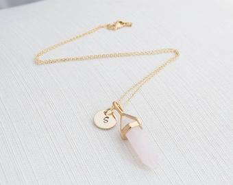 Gold Initial and Rose Quartz Necklace, Disc Necklace, Personalised Jewellery, Rose Gold Necklace, Gift idea