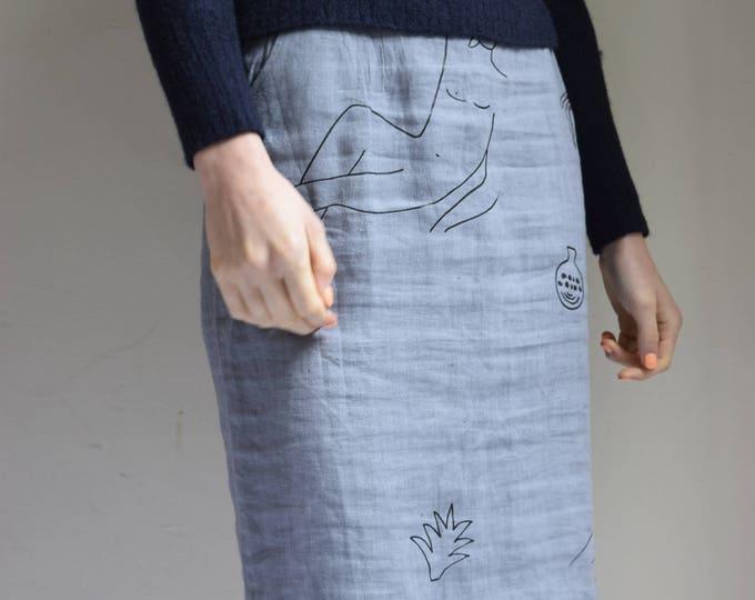 Wilson Lavender Linen Skirt w/ Raw Edge