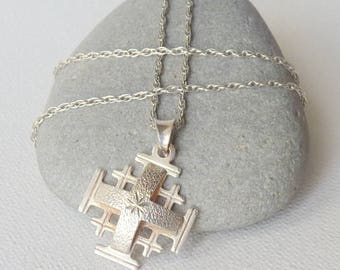 Sterling Silver Jerusalem Cross Pendant Chain Necklace, Vintage Jerusalem Crucifix, Silver Cross, 925 Vintage Cross,Religious Cross Jewelry