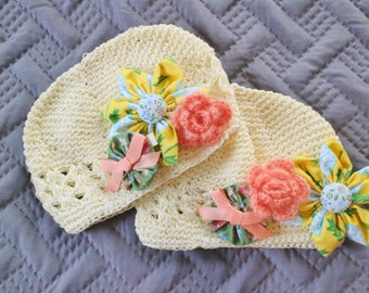 Baby Knit Beanie Kufi Hat with Assorted Hair Bow Clips