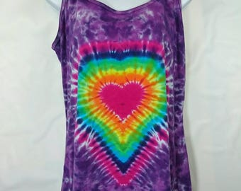 Rainbow heart top, Tie dye vest, 2 XL tie dye, Women's vest top, Ladies vest top, Hippy vest, Alternative vest, Festival vest, size 16-18 UK