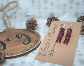 Ruby Drop Earrings, Sterling Silver Earrings, Birthstone Jewelry, Dangly Earrings, July Birthstone Jewellery, Ruby Red, valentines day