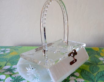 Vintage Charles S. Kahn Lucite Purse, Exquisite Pearlized Lucite Handbag, Clear Lid and Sides Stamped w/Floral Design ,1950s