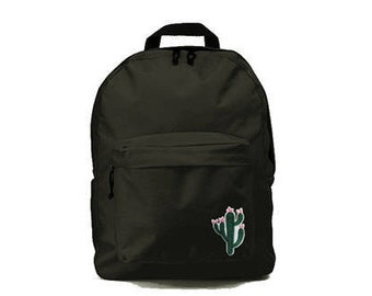 Black backpack with Kaktus patch 33x41x19cm