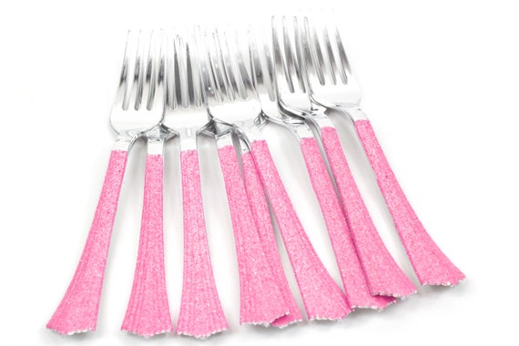 Silver Plastic Fork, Hot Pink Glitter Silverware Hot Pink Glitter Utensils Disposable Party Silverware Decorative Tableware Table Settings