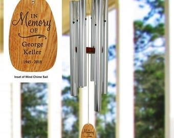 Engraved In Memory Of Wind Chimes , Custom Wind Chimes , Memorial Wind Chimes