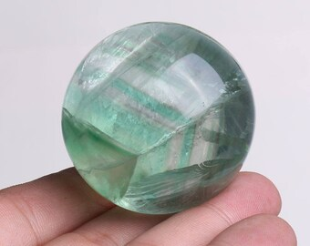 Natural Green Fluorite Quartz Crystal Sphere Ball Healing, Crystals and Minerals , Wiccan Pagan Crystal J709