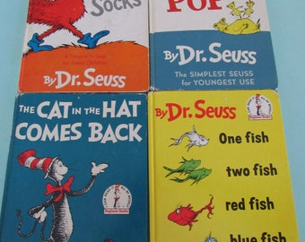 Lot of 4 Vintage Dr. Seuss Books Free Shipping