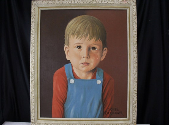 Fine Art Oil Painting, Portrait, Young boy with tears, Medium, Monte Deckwar